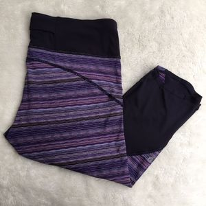 Lululemon Purple Striped Mesh Crop Pants Size 12